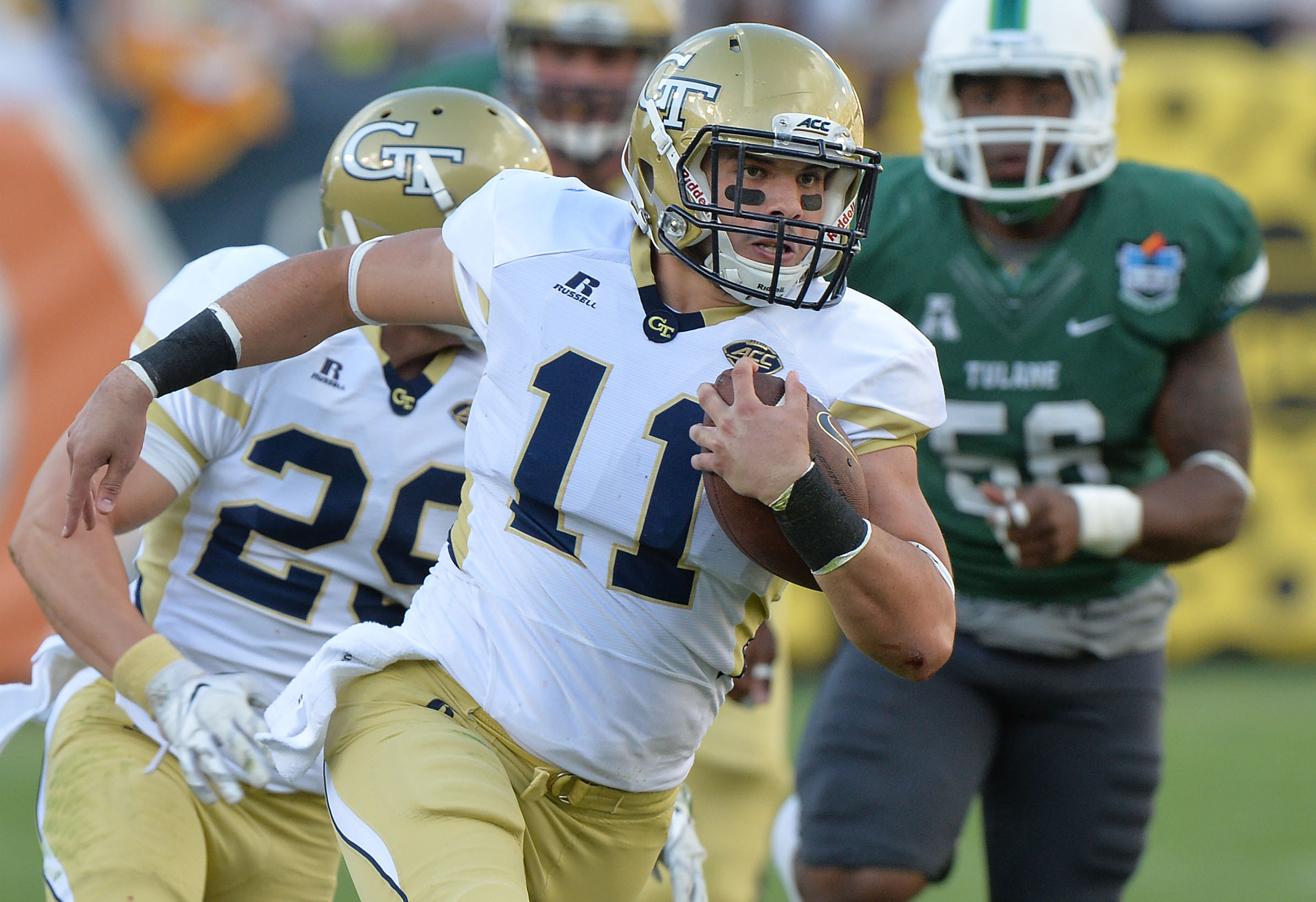September 12, 2015 Atlanta - Georgia Tech Yellow Jackets quarterback Matthew Jordan (11) runs for a touchdown in the second half at Bobby Dodd Stadium on Saturday, September 12, 2015. Georgia Tech Yellow Jackets won 65 - 10 over the Tulane Green Wave. HYOSUB SHIN / HSHIN@AJC.COM